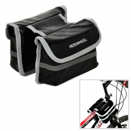 ROSWHEEL Waterproof Cycling Bicycle PU Top Tube Double Storage Bag - Black