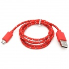 USB to Micro USB Data/Charging Woven Cable for Samsung / HTC / BlackBerry - Red + White + Black