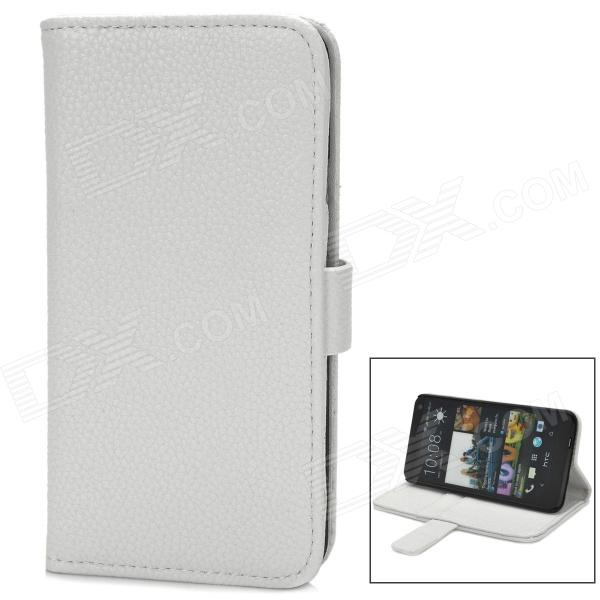 Lychee Pattern Protective PU Leather Case w/ Card Holder Slots for HTC M7 - White 3200mah backup battery case w holder for htc one m7 801e black