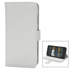 Lychee Pattern Protective PU Leather Case w/ Card Holder Slots for HTC M7 - White