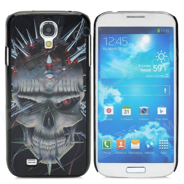 3D Skull Style Protective Plastic Back Case for Samsung Galaxy S4 i9500 - Black + Grey + Red cool basketball skin pattern silicone protective back case for samsung galaxy s4 i9500 black red