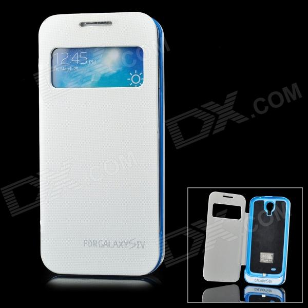 Portable 4200mAh External Battery Case w/ Smart Cover for Samsung Galaxy S4 / i9500 - White + Blue