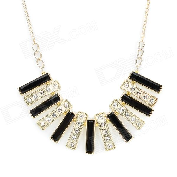Fashion Luxury Rectangle Texture Short Style Necklace for Women - Golden + Black