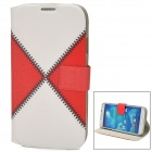 Protective Splicing PU Leather Case for Samsung Galaxy S4 i9500 - Red + White