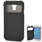 Protective PU Leather Case w/ Sleep Mode / Display Window for Samsung Galaxy S4 i9500 - Black