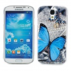 Elegant Butterfly Style Protective Plastic Back Case for Samsung Galaxy S4 i9500 - Blue + Grey