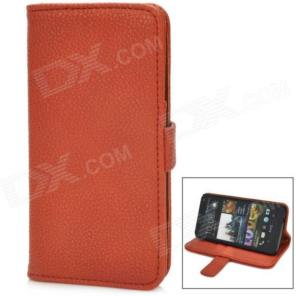 Lychee Pattern Protective PU Leather Case w/ Card Holder Slots for HTC M7 - Brown