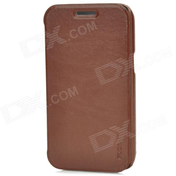 Pudini Protective PU Leather Case w/ Screen Protector for Samsung i8552 - Brown azns protective pu leather case for samsung i8552 red