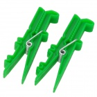 3235 Cute Crocodile Style Plastic Photo Note Bill Clip - Green (2 PCS)
