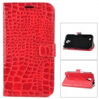 Stylish Crocodile Pattern Flip-open Protective PU Leather Case for Samsung i9200 - Red