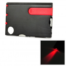 Handy Multifunctional Tool Card w/ LED Light + Magnifier - Red + Black