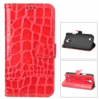 Stylish Crocodile Pattern Flip-open Protective PU Leather Case for Samsung i9190 (S4 Mini) - Red