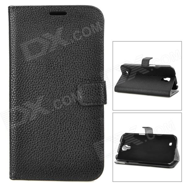Stylish Litchi Pattern Flip-open Protective PU Leather Case for Samsung i9200 - Black держатель wiiix ht 22v