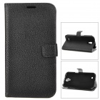 Stylish Litchi Pattern Flip-open Protective PU Leather Case for Samsung i9200 - Black