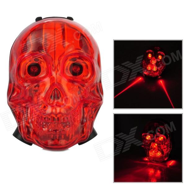 Cool Skull Style 7 Mode Red Laser Water Resisting Tail Lamp for Bicycle - Red + Black (2 x AAA) neje gz0015 4 novel racing helmet style alarm clock red black 2 x aaa