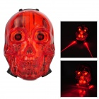 Cool Skull Style 7 Mode Red Laser Water Resisting Tail Lamp for Bicycle - Red + Black (2 x AAA)