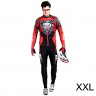 17K K02004 Men's Cycling Polyester + Nylon + Spandex Long Sleeves Jersey + Pants - Black + Red (XXL)