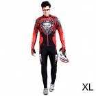 17K K02004 Men's Cycling Polyester + Nylon + Spandex Long Sleeves Jersey + Pants - Black + Red (XL)