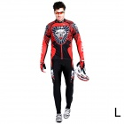 17K K02004 Men's Cycling Polyester + Nylon + Spandex Long Sleeves Jersey + Pants - Black + Red (L)