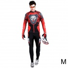17K K02004 Men's Cycling Polyester + Nylon + Spandex Long Sleeves Jersey + Pants - Black + Red (M)