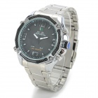 WEIDE WH2306 Fashion LED Digital + Analog Display Stainless Steel Watch for Men - Silver + Black