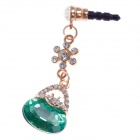 Stylish Shiny Rhinestone Lock Package Style 3.5mm Anti-dust Plug for Iphone 4S + More - Green