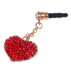 Stylish Heart Shape With Shiny Rhinestone 3.5mm Anti-dust Plug for Iphone 4S + More - Red