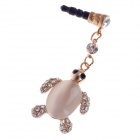 Stylish Tortoise Shape Rhinestone+Opal 3.5mm Anti-dust Plug for Iphone4S + More - Apricot