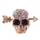 Stylish Cool Skull Style Rhinestone Home Button Sticker for Iphone 5 / 4S / Ipad - Black + Gold