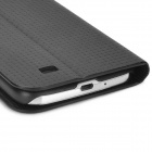Woven Style Protective PU Leather Case w/ Card Holder for Samsung Galaxy S4 i9500 - Black