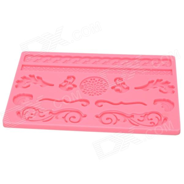 DIY Silicone Embossing Cookie Pastry Cake Mold - Pink sp008 diy silicone button flower style cookie cake mold pink