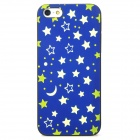 Noctilucent Embossed Starry Sky Pattern Protective Plastic Case for Iphone 5 - Blue + Green