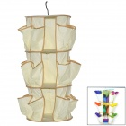 360 Degree Rotating 3-deck Hang Type Non-woven Fabrics Storage Organizer Shoes / Bags - Beige
