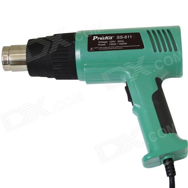 Proskit SS-611H 1500W Heat Gun Set - Green (230~240V / H Standard Plug) - DXSoldering Supplies<br>Brand Proskit Model SS-611H Quantity 1 Color Green Material Plastic housing Features Hot air Application Shrinking drying thawing plastic softening remove paint and varnish Power Supply 230~240V H standard plug Other 2 temperature adjustable: 300C / 500C; Smart overheat protection design; Automatic cool airflow to reduce waiting time frame overheating shut down while working; Two temperature adjustment to meet different requirement Certification CE / UL / GS Packing List 1 x Heat gun 4 x Nozzles 1 x Scraper 1 x Chinese / English user manual 1 x Blowing case<br>