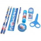 8-in-1 Cute Bears Pattern Pencil Ruler Glue Stick Stationery Set - Blue