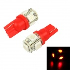 Merdia LEDD004T10A5S2 T10 0.9W 60lm 700nm 5-SMD 5050 LED Red Light Car Reading Lamps (2 PCS / 2V)