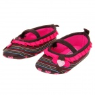 Lovely Flower Style Cotton Baby Shoes - Deep Brown + Deep Pink (6~9 Months / Pair)