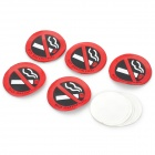 No Smoking Rubber Sticker - Red + Black + White (5 PCS)