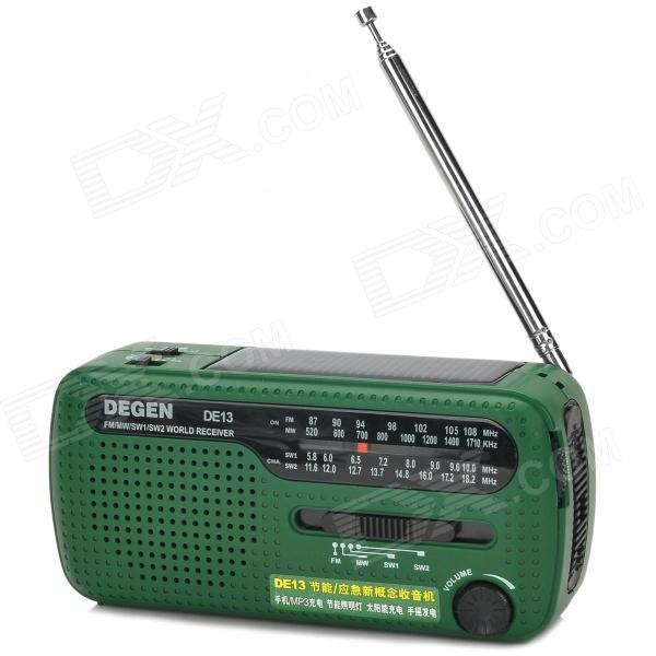 Degen DE13 Multifunction Hand Crank Solar Power FM / MW / SW1 / SW2 Radio w/ LED Torch - Green multifunctional crank dynamo am fm hand crank solar radio usb mobile phone charger led torch flashlight blutooth speaker