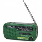 Degen DE13 Multifunction Hand Crank Solar Power FM / MW / SW1 / SW2 Radio w/ LED Torch - Green