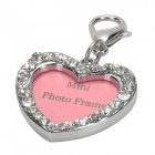 Love Heart Style Name ID Tag for Pet Dog Cat - Silver + Pink