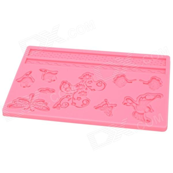 DIY Stylish 3D Birds & Flowers Style Silicone Cake Embossing Mold - Pink sp008 diy silicone button flower style cookie cake mold pink
