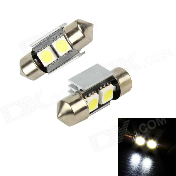 Merdia LEDD002B2A Festoon 31mm 3W 24lm 2-SMD 5050 LED White Light Decoded Car Lamps (2 PCS / 12V) 3 led touch control white light lamps silver 2 pcs 3 x aaa
