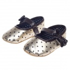 Cute Round Dot Pattern Bowknot Velcro Baby Shoes - Golden + Dark Brown + Black (3~6 Months / Pair)