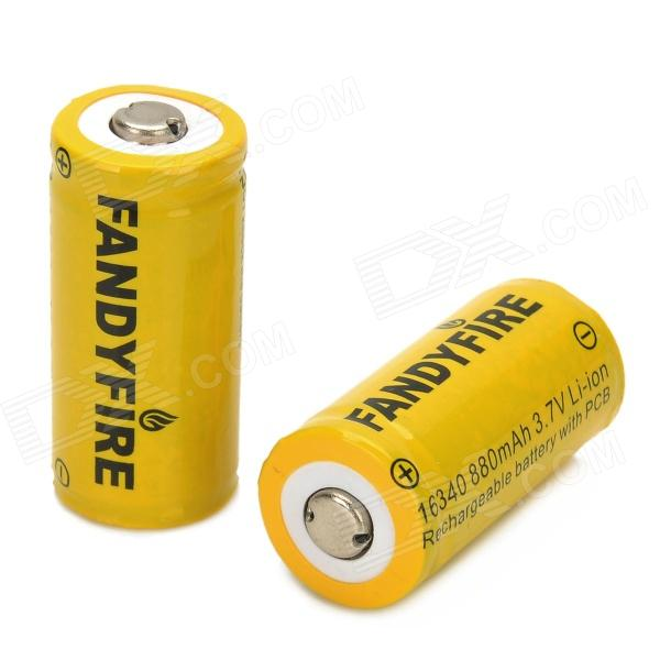 FANDYFIRE Rechargeable 3.7V 880mAh 16340 Li-ion Battery w/ Protection Board - Yellow + Black (2 PCS) lc 16340 3 7v 1000mah li ion batteries yellow 2 battery pack