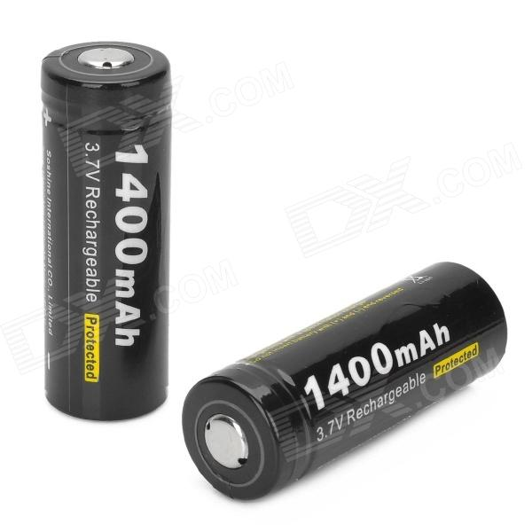 Soshine Rechargeable 3.7V 1400mAh 18500 Li-ion Batteri - Svart (2 st)