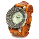 JINGYI PU Leather Band Round Zinc Alloy Dial Men's Quartz Wrist Watch - Orange + Bronze (1 x LR626)