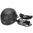 Security Motorcycle Riding Harley Helmet w/ Goggle Set - Black