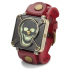 JINGYI Fashion Skull Head Dial PU Band Quartz Wrist Watch for Men - Red + Bronze (1 x  LR626)