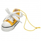 09591 Canvas Shoes Car Interior Hanging Decoration w/ Vanilla Perfume Air Fresher - Yellow + White